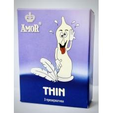Супертонкие презервативы AMOR Thin  Яркая линия  - 3 шт.