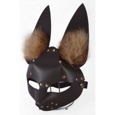 Коричневая маска  Зайка  с меховыми ушками